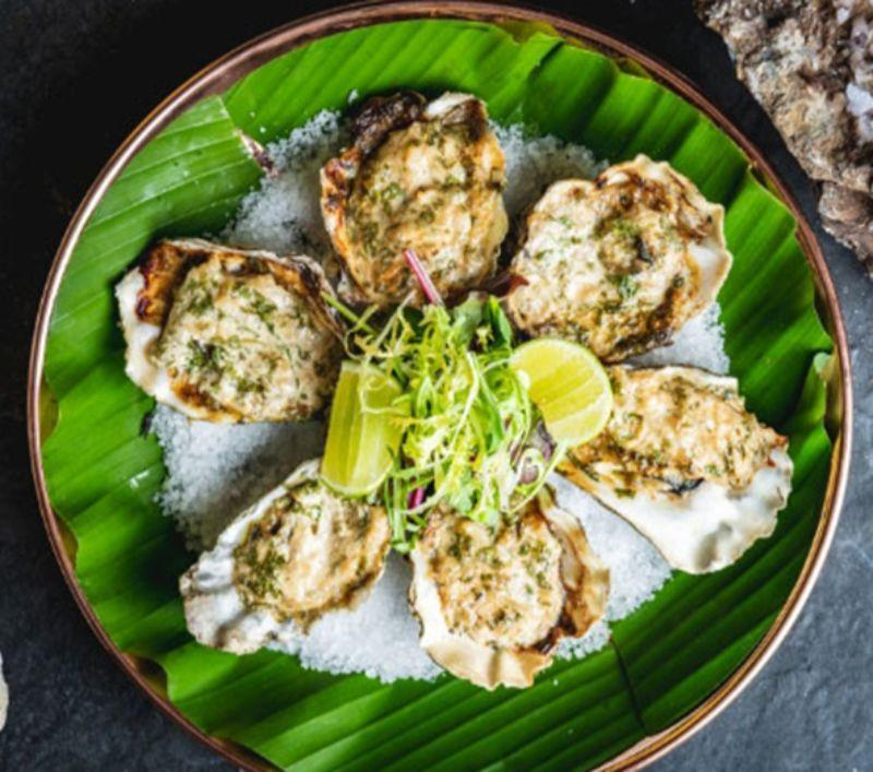 Meshico Restaurant Group Oysters on a green leaf