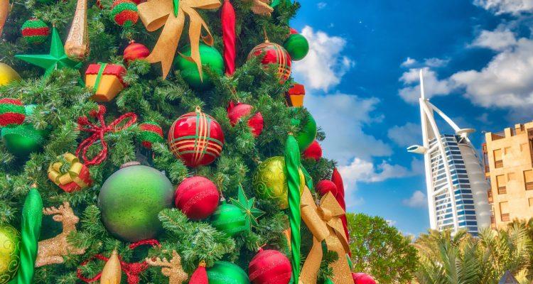 A Christmas tree with a view of Dubai.